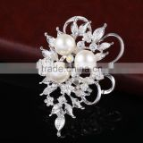 Maple Leaves Rhinestone Flower Brooch Pins With Pearls,Vintage Designs Crystal Rhinestone Brooch For Wedding Decoration