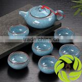 Chinese wholesale china ceramic teapot ice cracked teaset with gift package pottery tea cup 6pcs and 1 clay tea pot