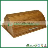 durable semicircle bamboo bread bin/box with stainless steel handle