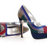2013 latest wedding shoes One pair Sample availble High wedges Large size women wedding crystal high heels