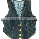 Stylish fashion design girls 100% cotton sleeveless denim jacket ladies lovely elastic denim vest facotry in Zengceng