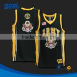 100% polyester light weight sublimated customized logo design yellow sleeveless basketball jersey