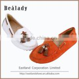 OEM/ODM 2016 cheap price soft fashion genuine cow patent leather low thick heel shoes ladies