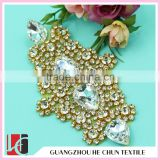 HC-0172 Bridal DMC Crystal Beaded Appliques For Bridal Accessory/Bling Shoulder Crystal Patch