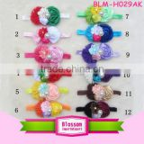 2016 New style newborn baby rhinestone bead center elastic chiffon flower headband wholesale