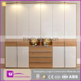 2016 double color white and wood grain wardrobe design specific use bedroom furniture closet