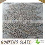 cut-to-size stone form and split surface finishing natural rusty slate flooring flagstone mat mesh stone tile
