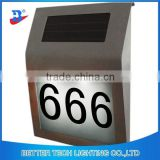 solar door plates Biggest size 30x20x4CM Stainless Steel 2pcs LED House Number Solar Powered LED Light