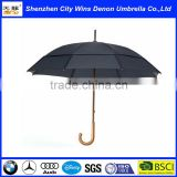 Wholesale classic automatic custom OEM amazon hot sale air vents wooden stick umbrella with wood hook handle