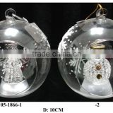 Hand Painted LED Light Semi-open glass ball with Snowflake Pattern and Christmas Crafts inside