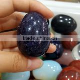4.7cm Length Simulated Dark Blue Gold Sand Stone Eggs for Easter Gifts