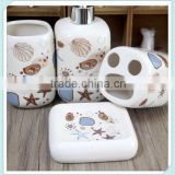 mediterranean style ceramic 4 pieces of bathroom accessories set with marine life design