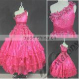 One-shoulder embroidery solid beading young ball gown floor length girl dress