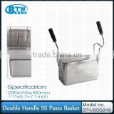 New Arrival Double Handle Perforated Pasta Basket,Stainless Steel Spaghetti Basket Strainer for Commercial Kitchen