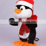 Electronic swing body christmas Penguin with MP3 player function stuffed animal plush toy