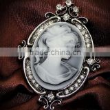 hot sale crystal brooches vintage lovely girl cameo brooch