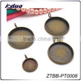10-25MM Antique Bronze Round Cabochon Bezel Settings Blank Pendant Trays Fit 10-25MM Cabochon