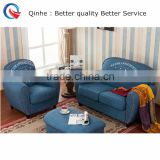 china factory high quality home living room furniture blue linen fabric tufted headnail trim lover sofa sets