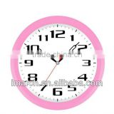 Round wall clock with pink case