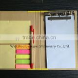 Combined Notebook Sticky Notepad& Writing Pads With Ball Pen And Clamp