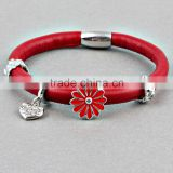 ZMZY Top Quality Genuine Leather Bracelet Endless Bracelet for Women Heart Charms 1 Layer