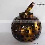 Aluminium round shape metal Lantern with hand cut round patterns in antique brass