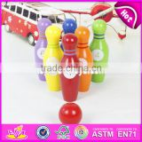 Wholesale mini wooden kids bowling playing set colorful children wooden bowling set toys W01A293