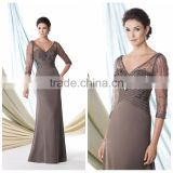 beautiful deep v neck sleeve chiffon evening long dress prom