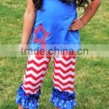 4th of July Custom Boutique Clothing Outfit 2-piece spring summer baby girl ruffle china wholesale alibaba