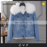 White fox/raccoon fur parka removable custom fur parka coat