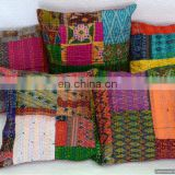 Vintage Silk Sari Pillow Cover Kantha Cushion Cover Patchwork Decorative Throw Pillow Indian Cushion Sham