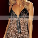 Sexy Women Sleepwear Underwear Nightwear Leopard Lingerie Set Strap Deep V-neck Bow Mini Dress And G-String