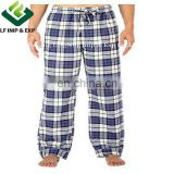 Cotton Flannel Pajama Lounge Pants-Blue/White/Purple Plaid