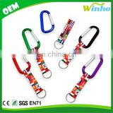 Winho Sublimated Webbing strap with Carabiner Hook and Split Ring