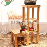 new-design bamboo multifunctional shoe changing stool step stool