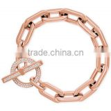 wholesale customized new fashion jewelry girls rose gold Chain Link Toggle diamond Bracelet for party