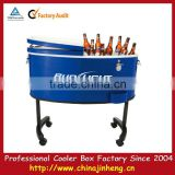 Vintage Blue Rolling Cooler with bottle openers on sides