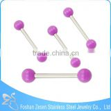 Flashing Color Double Balls Barbell Piercing Pearl Tongue Ring