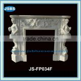 White marble fireplace figure carving
