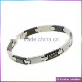 Classic Design Fashion Jewelry Stainless Steel Customized Logo Bracelets Chain Black Plated Two Tone