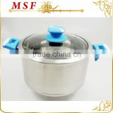 high-end design stainless steel casserole hot pot T-type lid and silicone paint bakelite handles