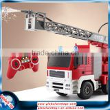 Educational toy in hot sale! 1:20 2.4GHz rc fire truck with simulational sprinkler&sound&light&work station 660-degree rotation