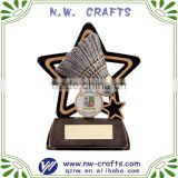 Polyresin badminton sports trophy for children