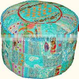 Traditional Home Decorative Ottoman Handmade Pouf Indian Comfortable Floor Cotton Cushion Ottoman Cover