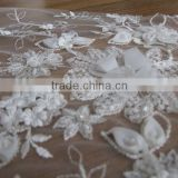Newest 3D Lace Satin Applique Flower On Fabric Wedding Bridal Dress Lace Design/2015 White 3D lace/lace fabric 3d