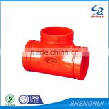 FM/UL approved ductile iron pipe fittings grooved reducing tee                                                                         Quality Choice