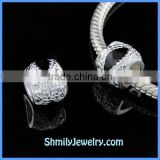 Wholesale High Quality Black Pattern Enamel Silver Beads BES57
