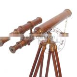"BROWN ANTIQUE BRASS TELESCOPE WITH WOODEN STAND - COLLECTIBLE MARINE 18"" TELESCOPE ON STAND"