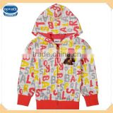 ( F3208 ) cream 18M-6Y New spring children clothes cartoon printed baby girl cotton hoody for kids
