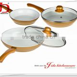 5PCS FORGED ALUMINUM CERAMIC COATING FRY PAN SET WIH INDUCTION BOTTOM WITH SOFT TOUCH HANDLE WITH LID